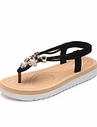 billige -Dame Sko PU Sommer Komfort Sandaler Flade hæle Sort / Beige