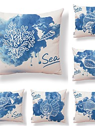 cheap -6 pcs Textile / Cotton / Linen Pillow case, Floral / Art Deco / Printing Square Shaped / Creative