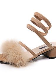 baratos -Mulheres Sapatos Camurça Verão Conforto Sandálias Caminhada Salto de bloco Dedo Aberto Preto / Bege / Verde