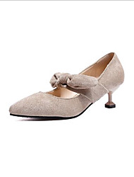 baratos -Mulheres Sapatos Cashmere Primavera Verão Conforto Saltos Calcanhar Heterotípico Dedo Apontado para Ao ar livre Preto / Bege / Amarelo