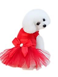 abordables -Animaux de Compagnie Robe Vêtements pour Chien Couleur Pleine / Voiles & Transparence / Fleur Fuchsia / Rouge / Bleu Coton / Polyester /