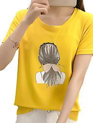 abordables -Mujer Vintage Espalda al Aire - Algodón Camiseta Un Color Manga Murciélago Azul y Blanco