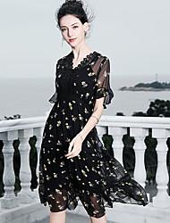 cheap -Blueskybutterfly Women's Basic / Boho Butterfly Sleeves Swing Dress - Floral Print