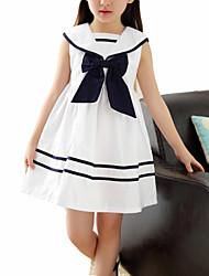abordables -Enfants Fille Doux Bloc de Couleur Sans Manches Robe Blanc