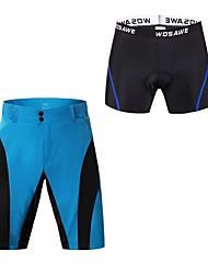baratos -WOSAWE Homens Bermudas Acolchoadas Para Ciclismo Moto Shorts Acolchoados / Calças Secagem Rápida, Tiras Refletoras Retalhos, Clássico Vermelho / Azul Roupa de Ciclismo / Prova-de-Água