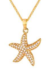 Недорогие -Цирконий Ожерелья с подвесками - морская звезда Мода Золотой, Серебряный 55 cm Ожерелье Бижутерия Назначение Повседневные