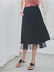 baratos -saias midi uma linha de saias das mulheres - cintura alta cor sólida