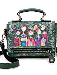 baratos -Mulheres Bolsas PU Leather Tote Estampa / Ziper para Escritório e Carreira Verde / Vermelho / Roxo