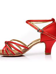 cheap -Women's Latin Shoes Satin Sandal / Heel Splicing Customized Heel Customizable Dance Shoes Red / Indoor