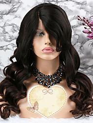 baratos -Cabelo Remy Peruca Cabelo Brasileiro Ondulado Corte em Camadas 130% Densidade Com Baby Hair / Ajustável / Coloração Marrom Escuro Curto /