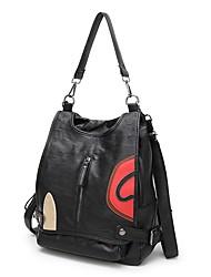 abordables -Mujer Bolsos Piel de oveja mochila Cremallera Negro