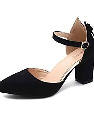 cheap -Women's Shoes PU(Polyurethane) Summer Comfort Heels Low Heel Pointed Toe Bowknot Black / Beige