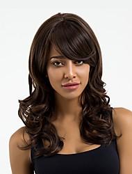 Недорогие -Парики из искусственных волос Волнистый Боковая часть Природные волосы Темно-коричневый Жен. Без шапочки-основы Парик из натуральных волос