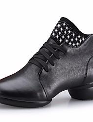 abordables -Femme Bottes de Danse Cuir Basket Talon Bas Chaussures de danse Noir / Marron / Rouge Foncé / Utilisation / Entraînement