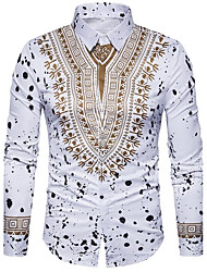 cheap -Men's Boho / Street chic Cotton / Polyester Slim Shirt - Geometric / Long Sleeve