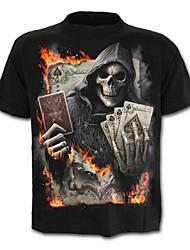 baratos -Homens Camiseta Caveira Exagerado Estampado, Retrato Letra Caveiras
