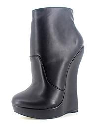 お買い得  -女性用 靴 PUレザー 秋冬 ブーティー / アイデア ブーツ ウエッジヒール ラウンドトウ ブーティー/アンクルブーツ のために パーティー ホワイト / ブラック / パープル