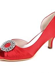 baratos -Mulheres Sapatos Cetim Primavera Verão Plataforma Básica Sapatos De Casamento Salto Sabrina Peep Toe Pedrarias / Drapeado Lateral