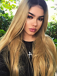 cheap -Synthetic Lace Front Wig Wavy Blonde Middle Part 150% Density Synthetic Hair Heat Resistant / Women / Color Gradient Blonde Wig Women's Long Lace Front Black / Strawberry Blonde / Yes