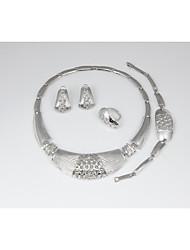 preiswerte -Damen Schmuck-Set - versilbert Einfach, Grundlegend, Modisch Einschließen Ketten- & Glieder-Armbänder / Kreolen / Bandring Silber Für Hochzeit / Party / Braut-Schmuck-Sets