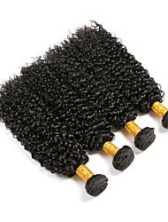 baratos -4 pacotes Cabelo Brasileiro Kinky Curly Cabelo Humano Cabelo Humano Ondulado / Um Pacote de Solução / Extensões de Cabelo Natural 8-28 polegada Tramas de cabelo humano Melhor qualidade / Venda