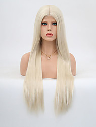 cheap -Synthetic Lace Front Wig Straight Blonde Layered Haircut Synthetic Hair Heat Resistant Blonde Wig Women's Long Lace Front / Yes