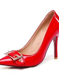preiswerte -Damen Schuhe Lackleder / Kunstleder Herbst Pumps High Heels Stöckelabsatz Spitze Zehe Schwarz / Rot / Mandelfarben / Hochzeit