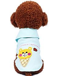 baratos -Cachorros Gatos Animais de Estimação Camisetas Roupas para Cães Urso Princesa Floral / Botânico Verde Rosa claro Algodão / Poliéster