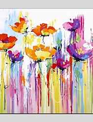 Недорогие -Hang-роспись маслом Ручная роспись - Абстракция / Цветочные мотивы / ботанический Modern холст