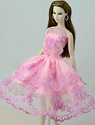 お買い得  -ドレス ドレス ために バービー人形 ピンク リネン / コットンのブレンド / リネン / ポリエステル混 ドレス ために 女の子の 人形玩具