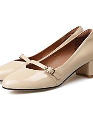 preiswerte -Damen Schuhe Leder Nappaleder Frühling Pumps Komfort High Heels Blockabsatz für Normal Rot Wein Hautfarben