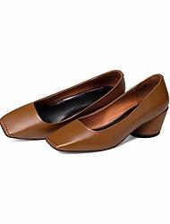 preiswerte -Damen Schuhe Leder / Nappaleder Frühling Sommer Pumps / Komfort High Heels Blockabsatz für Schwarz / Kaffee / Dunkelgrün