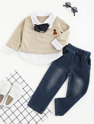 cheap -Boys' Party Daily Formal Clothing Set, Cotton Polyester Spring Fall All Seasons Long Sleeves Dresswear Khaki