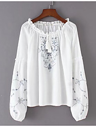 abordables -Mujer Básico Bordado Blusa Floral