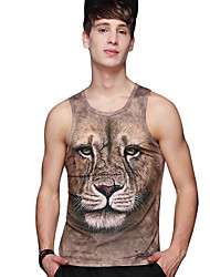 cheap -Men's Running Tank Top - Brown Sports Lion Tank Top Fitness, Gym, Workout Sleeveless Activewear Lightweight, Breathable Stretchy
