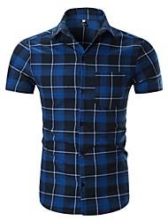 economico -Camicia Per uomo Essenziale A quadri Nero e rosso