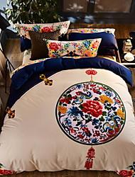 abordables -Ensembles housse de couette Style Chinois Polyester / Coton Imprimé 4 Pièces