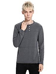 preiswerte -Herrn Gestreift Baumwolle T-shirt, Rundhalsausschnitt Schlank