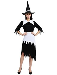 cheap -Witch Outfits Women's Halloween / Day of the Dead / Masquerade Festival / Holiday Halloween Costumes Black Solid Colored / Halloween
