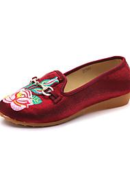 baratos -Mulheres Sapatos Lona Verão Conforto Rasos Sem Salto Preto / Roxo / Vermelho