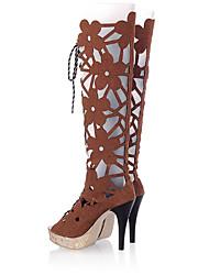 Недорогие -Жен. Обувь Полиуретан Весна лето Модная обувь / Оригинальная обувь Ботинки На шпильке Открытый мыс Сапоги до середины икры для Офис и