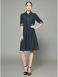 Недорогие -Жен. Изысканный / Уличный стиль Прямое / Джинса / Рубашка Платье - Однотонный До колена