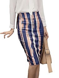 cheap -Women's Street chic Pencil Skirts - Striped