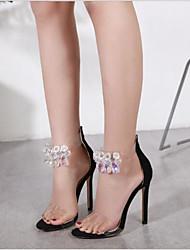 Недорогие -Жен. Обувь Флис Лето Удобная обувь Сандалии На шпильке Круглый носок для на открытом воздухе Черный / Миндальный