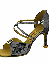 cheap -Women's Latin Shoes / Salsa Shoes Sparkling Glitter / Leatherette Sandal / Heel Rhinestone / Buckle / Ribbon Tie Customized Heel Customizable Dance Shoes Silver / Red / Blue / Performance