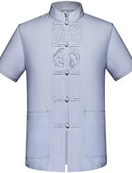 Недорогие -Муж. Большие размеры - Рубашка Однотонный / Пожалуйста, выбирайте изделие на размер больше вашего обычного размера / Воротник-стойка