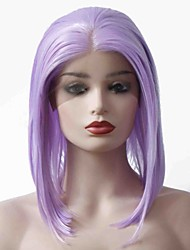 cheap -Synthetic Lace Front Wig Straight Bob Haircut 150% Density Synthetic Hair Soft / Heat Resistant / Women Purple Wig Women's Short Lace Front Wig / Yes