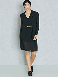 cheap -Women's Sophisticated / Street chic Shift / Sheath / Little Black Dress - Solid Colored