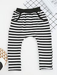 abordables -Pantalons Garçon Rayé Coton Printemps Automne Mignon Dessin Animé Noir