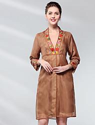 cheap -Proverb Women's Silk Shift Dress - Solid Colored / Floral Deep V / Shirt Collar